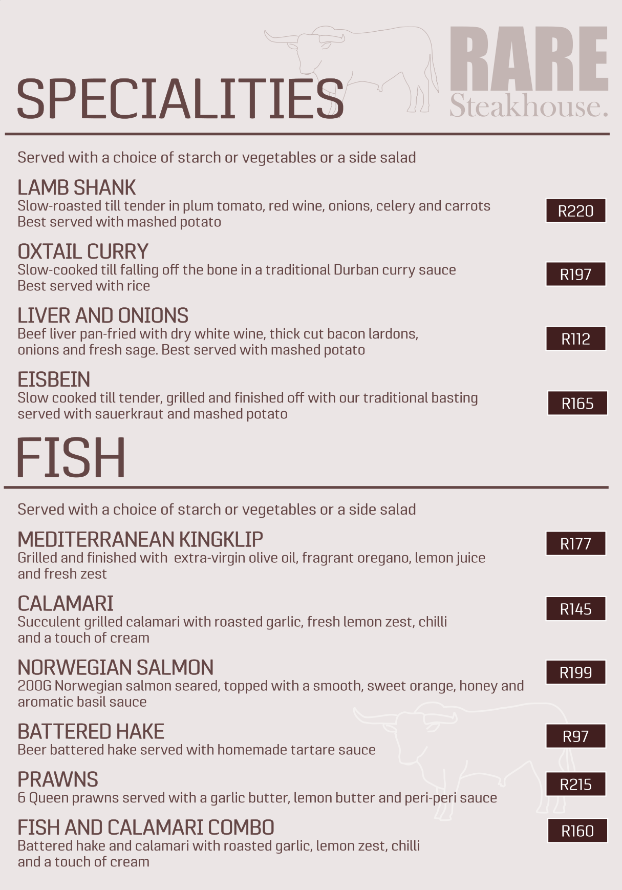 Rare Steakhouse Menu July 2018